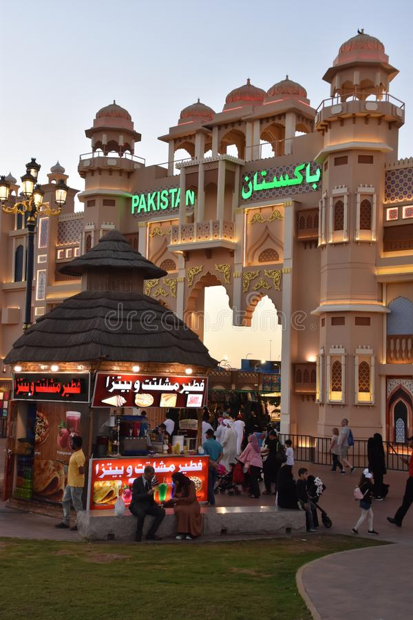 Pakistan pavilion at Global Village in Dubai, UAE. As seen on Dec 11, 2018. It is claimed to be the world`s largest tourism, leisure and entertainment project stock image
