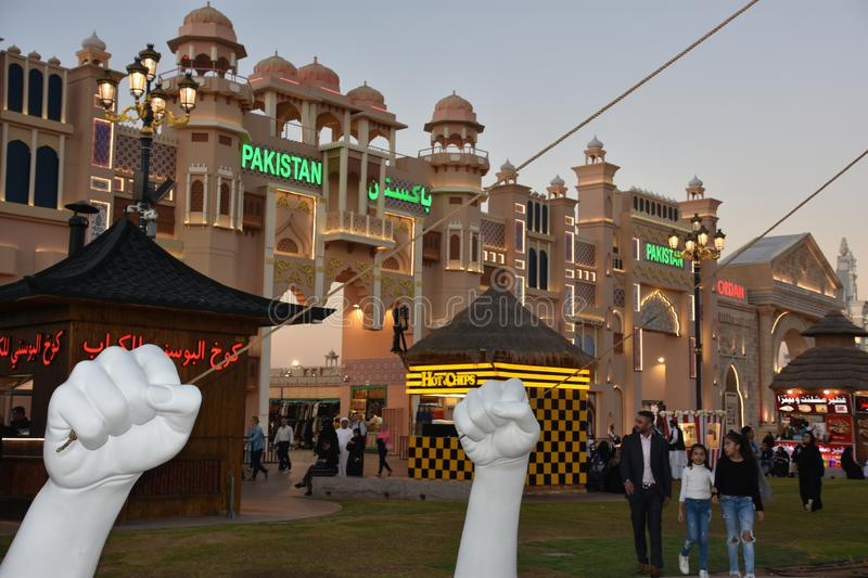 Pakistan pavilion at Global Village in Dubai, UAE. As seen on Dec 11, 2018. It is claimed to be the world`s largest tourism, leisure and entertainment project stock images