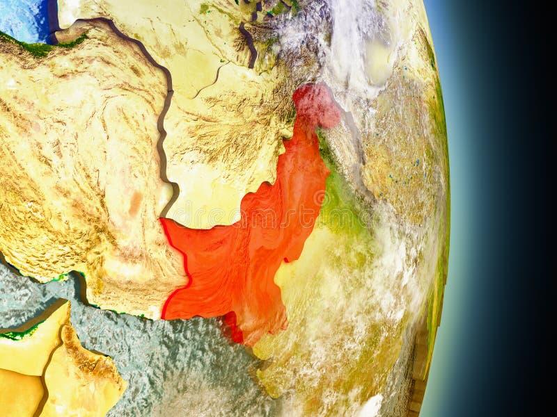 Pakistan in rood van ruimte royalty-vrije illustratie