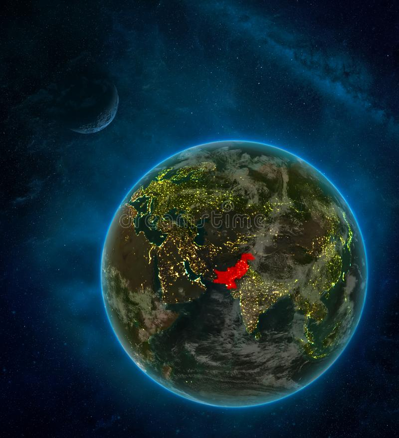 Pakistan from space on Earth at night surrounded by space with Moon and Milky Way. Detailed planet with city lights and clouds. 3D. Illustration. Elements of stock illustration