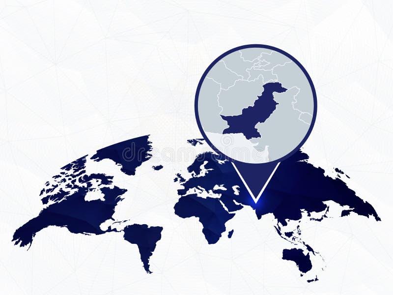 Pakistan specificerade översikten markerade på blå rundad världskarta stock illustrationer