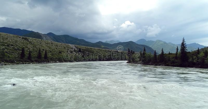 Pakistan: spill of rivers and storm clouds. In the photo you can see a spill of rivers and storm clouds royalty free stock images