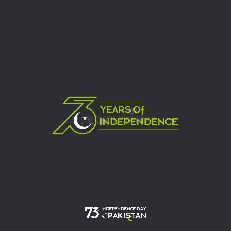 Pakistan-Unabhängigkeitstag-Typografie-Entwurf Kreative Typografie des 73. glücklichen Unabhängigkeitstags des Pakistan-Vektor-Sc vektor abbildung