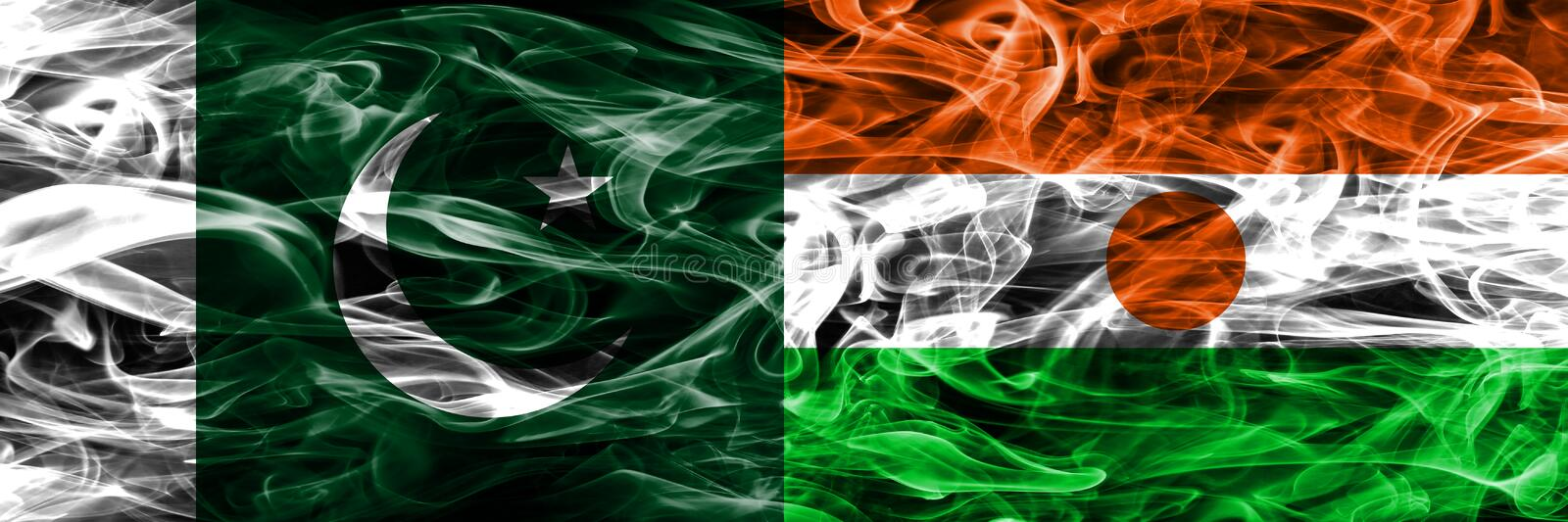 Pakistan vs Niger smoke flags placed side by side. Thick colored. Silky smoke flags of Pakistan and Niger stock photos