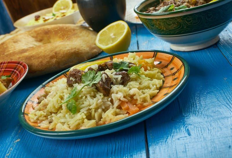 Pakistani Scheherazade Biryani. Pakistani cuisine , Scheherazade Biryani - Traditional assorted dishes, Top view stock photo