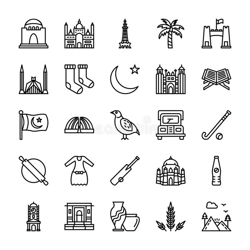Pakistani Culture And Landmarks. A customized pack of pakistani culture and landmarks possess icons associated with different regions, ethnicities, customs and stock illustration