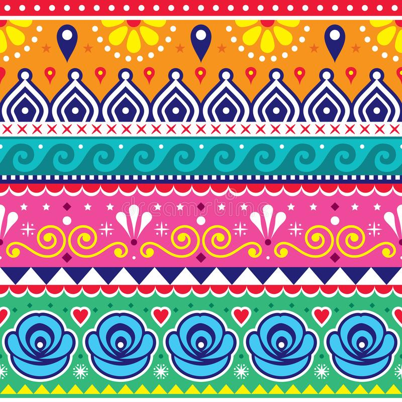 Free Pakistani Or Indian Truck Art Vector Seamless Pattern, Decorative Truck Floral Design With Flowers, And Abstract Shapes Royalty Free Stock Image - 164532376