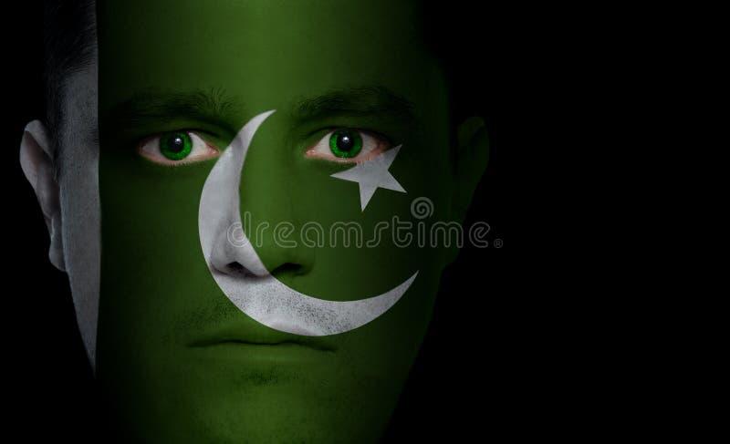 Pakistanische Markierungsfahne - männliches Gesicht lizenzfreie stockfotos