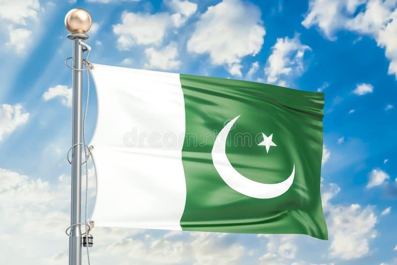 Pakistanisches fahnenschwenkendes im blauen bewölkten Himmel, Wiedergabe 3D stock abbildung
