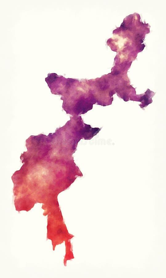 Pakistans vattenfärgskarta över federalt administrerade stamområden arkivbilder