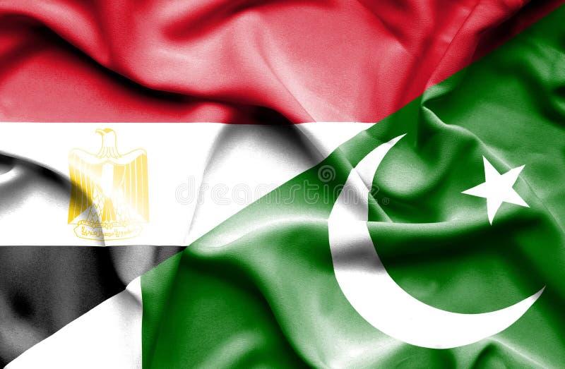 Pakistansk vinkande flagga och Egypten arkivbild