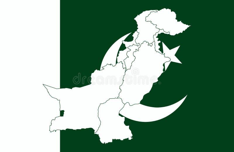 Pakistanska översikt och flagga stock illustrationer