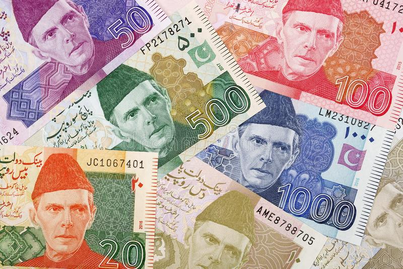 Pakistanska pengar, en bakgrund arkivbild