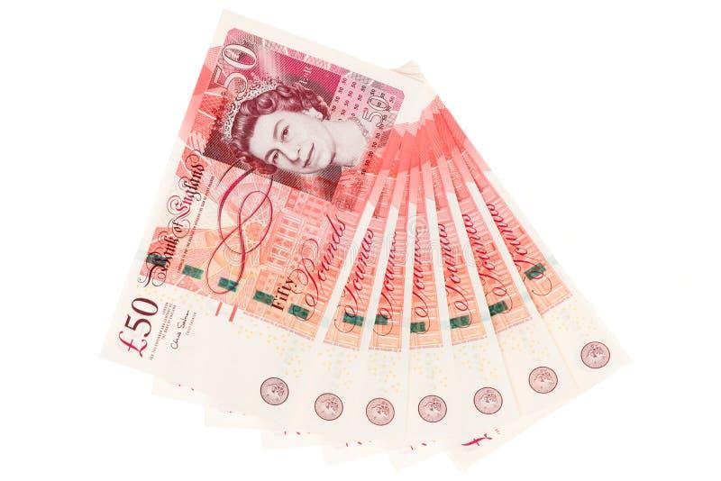 Pakje van het UK vijftig pondennota's royalty-vrije stock foto