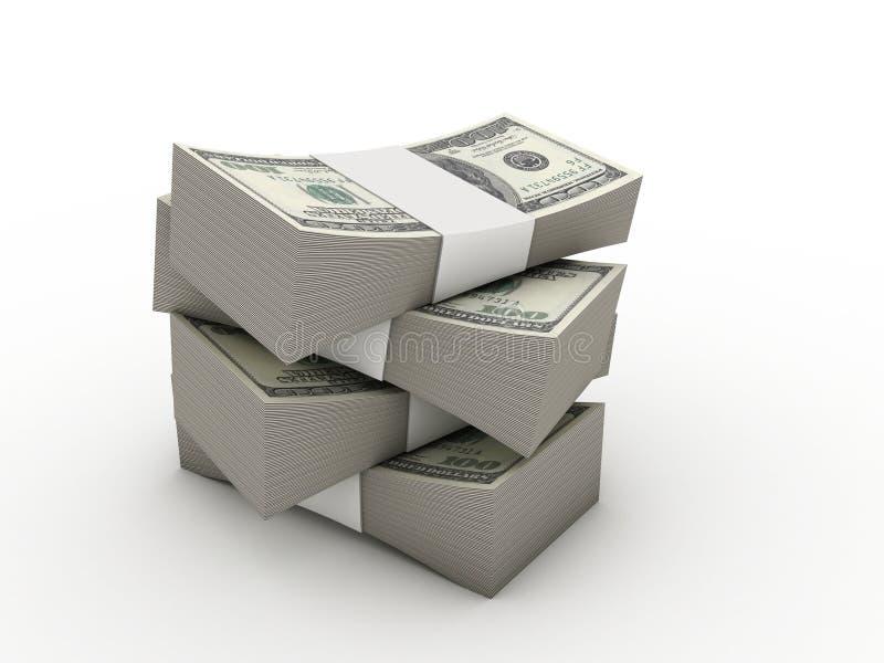Pakjes van dollars royalty-vrije illustratie