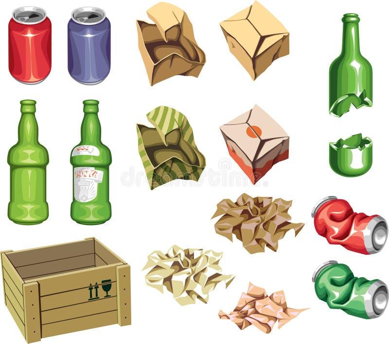 Pakket en afval. royalty-vrije illustratie