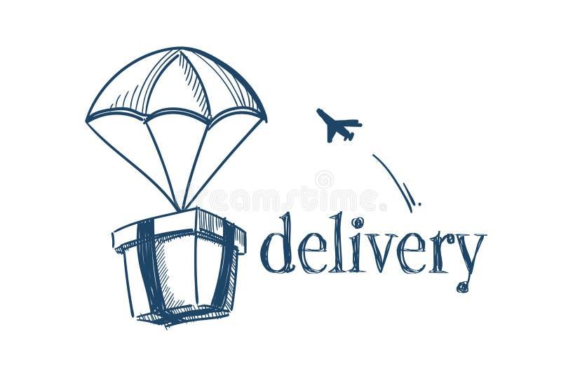 Pakket met van het de dienstconcept van de valscherm snel levering vrij de lucht verschepend vliegend vliegtuig op witte achtergr vector illustratie