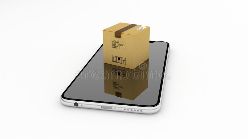 Pakketlevering, het volgen, Internet-aankoop Pakket op de manier stock afbeeldingen