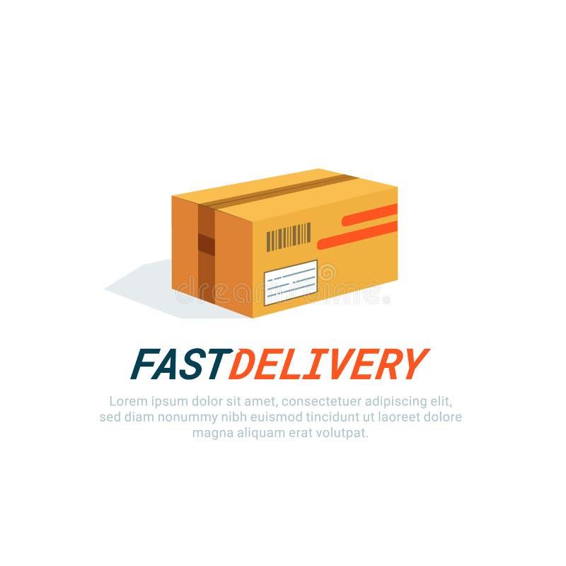Pakketpictogram Leveringsdoos, karton vlak stijl gekleurd pictogram op witte achtergrond De postdiensten, levering vector illustratie