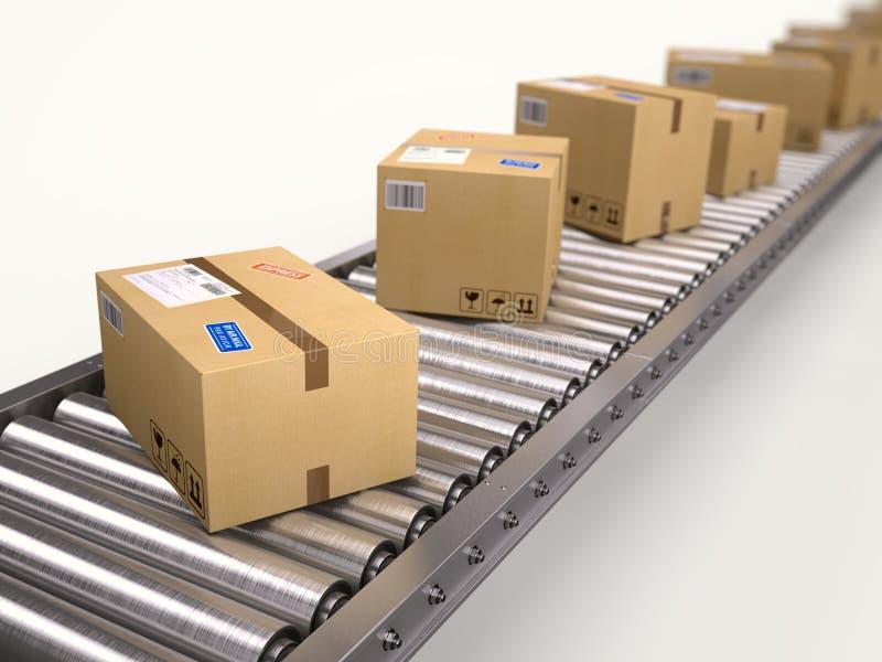 Pakketten en pakkettenleveringsconcept - kartondozen op transportband stock illustratie