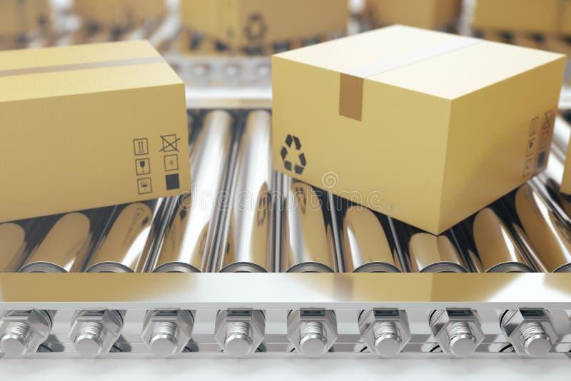 Pakkettenlevering, de verpakkend dienst en het systeemconcept van het pakkettenvervoer, kartondozen op 3d transportband, stock illustratie