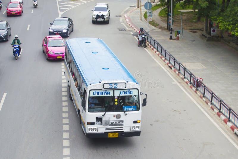 52 Pakkred - Bangsue Station. Bangkok,Thailand ,September 30, 2015 52 Pakkred - Bangsue Station Bangkok bus car on the road city thailand royalty free stock photos
