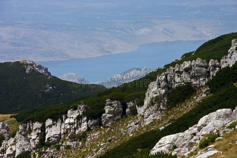 Paklenicanp mooi kustpanorama van Vaganski Vrh royalty-vrije stock afbeeldingen