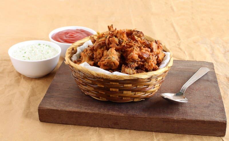 Pakoda Traditionele en Populaire Indische Vegetarische Snack stock fotografie