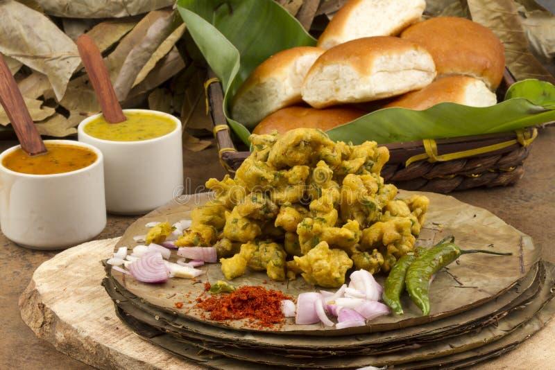 Pakora or bhajji. Indian special traditional fried food Pakora and chutney royalty free stock images