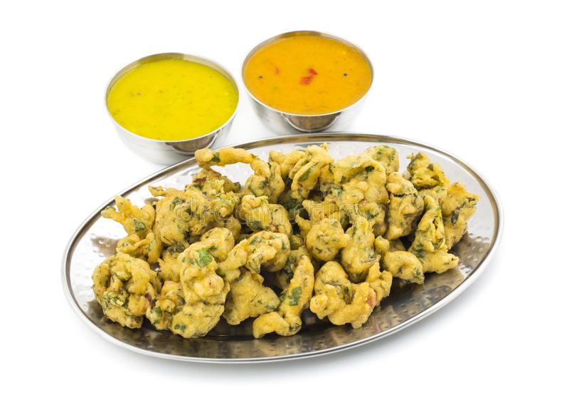 Pakora eller Bhajiya arkivbild
