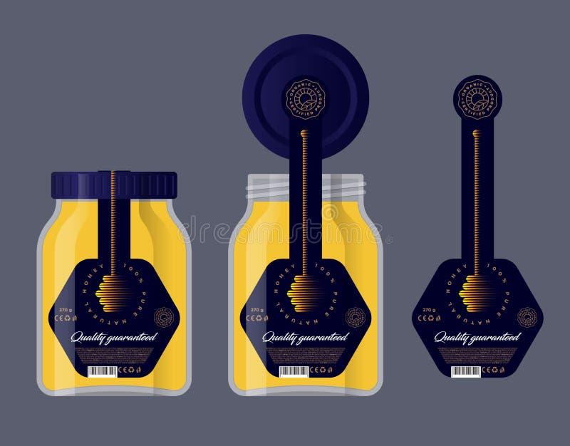 Pakować dla miodu Miód logo Szklany słój i dekiel z etykietką Miodowa chochli ikona royalty ilustracja
