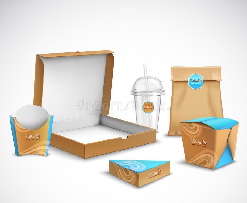 Pakować fasta food Realistycznego set royalty ilustracja