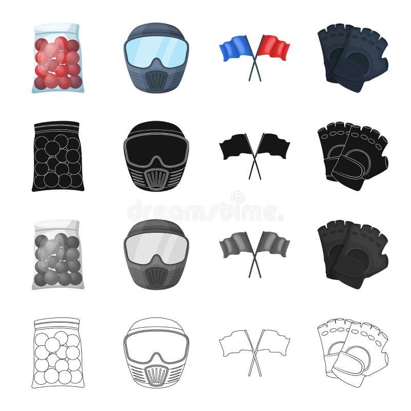 Pakować, klingeryt, piłki i inna sieci ikona w kreskówka stylu, Paintball, rywalizacje, hobby, ikony w secie ilustracji