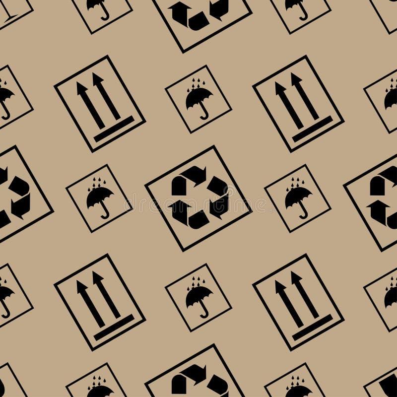 Pakujący papieru wzór z pakować symbole ilustracji