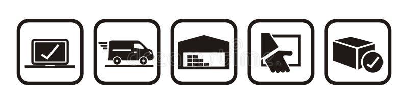 Pakuje tropić online zakup, sieć wektoru ikony ilustracji