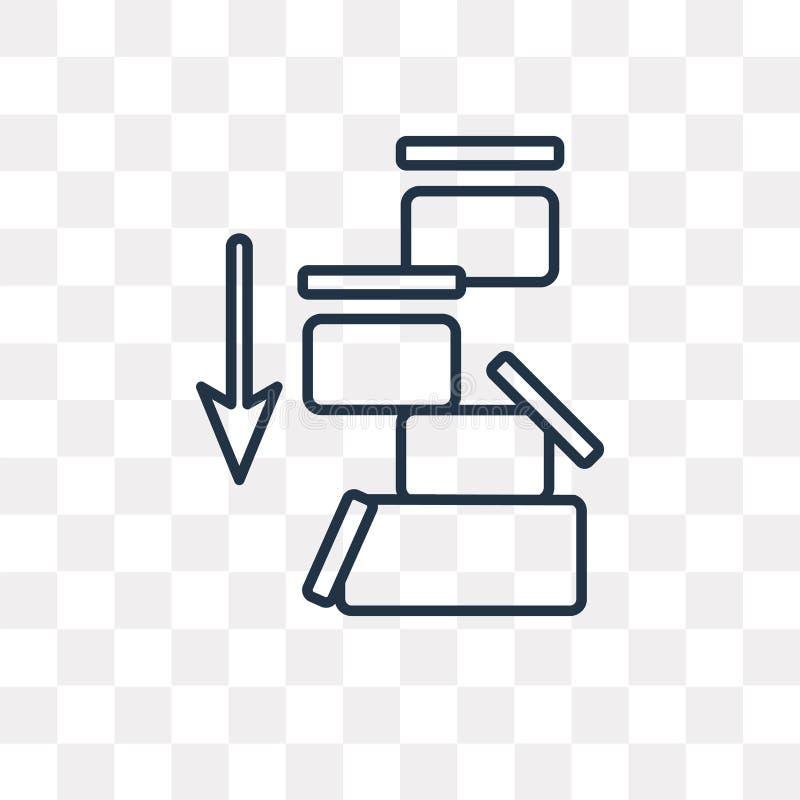 Pakuje wektorową ikonę odizolowywającą na przejrzystym tle, liniowy P ilustracja wektor