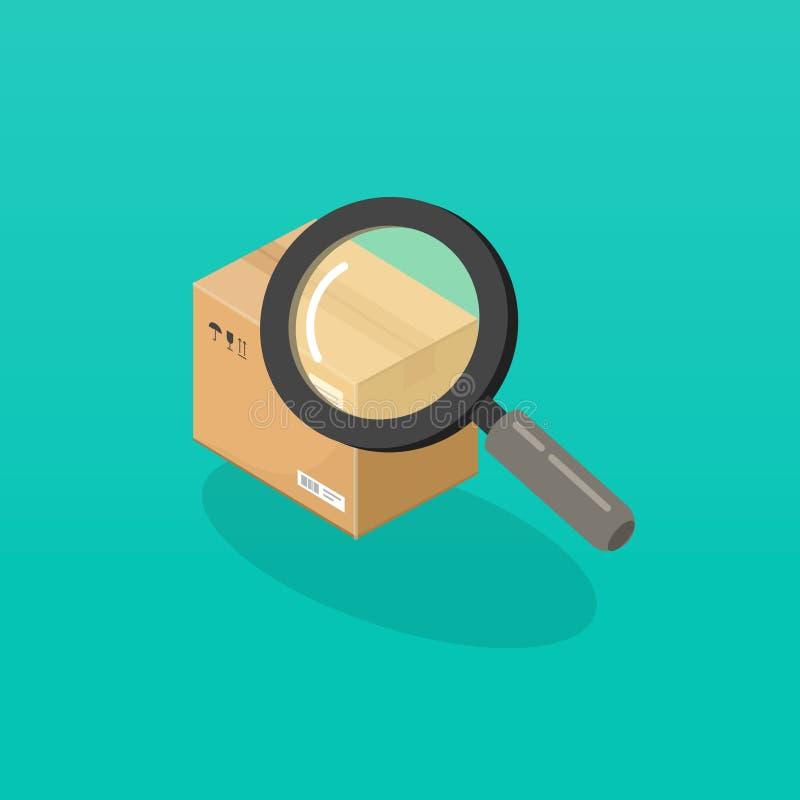 Pakuneczek lub rozkaz tropi wektorową ilustrację, isometric kreskówki magnifier szklanego gmeranie lub znalezisko pakunku pudełko royalty ilustracja