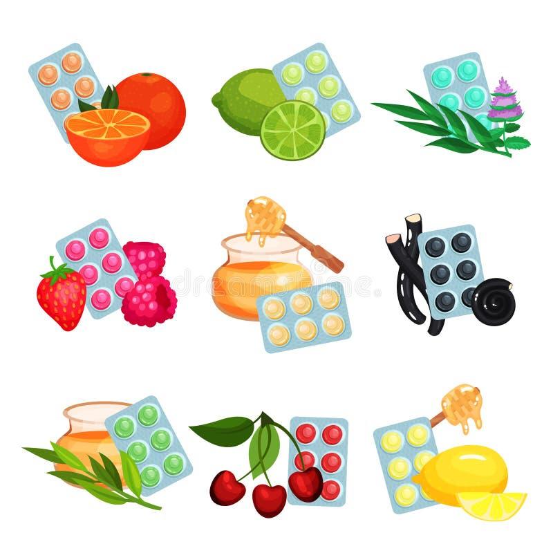 Pakunek lozenges set, sosowani różni smaki ssać cukierki dla bolesnego gardła i kasłania naprawia kreskówka wektor ilustracja wektor