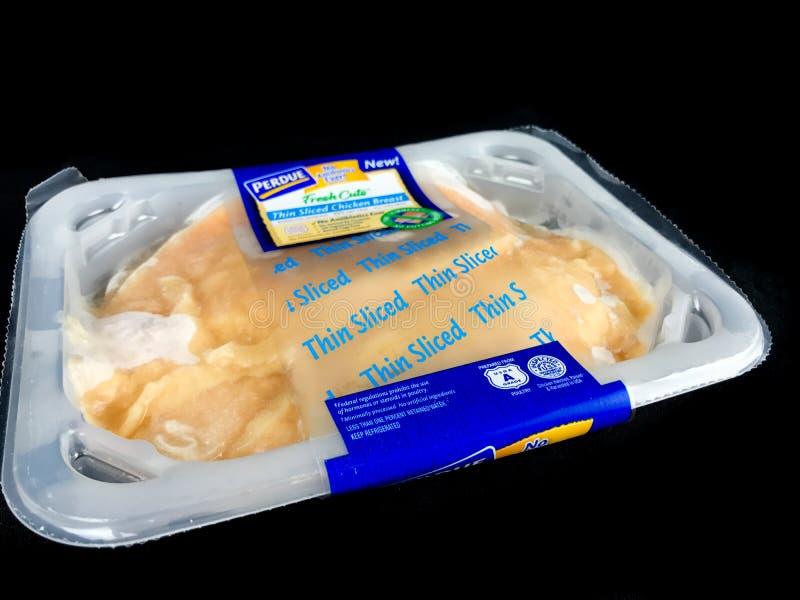 Pakunek Purdue kurczaka Cienka Pokrojona pierś obrazy royalty free
