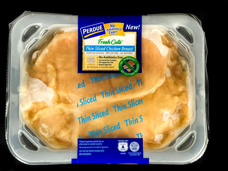 Pakunek Purdue kurczaka Cienka Pokrojona pierś fotografia stock