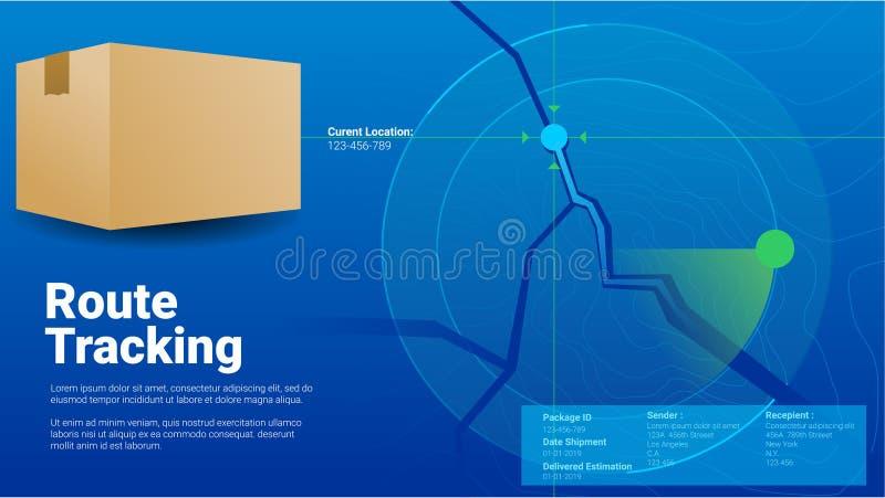 Pakunek trasy doręczeniowa pozycja tropi pojęcia countur siatki gps tropiciela wektoru nowożytną błękitną ilustrację royalty ilustracja