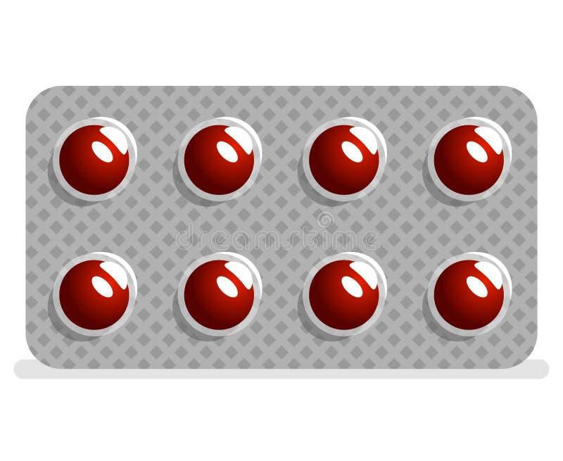 Pakunków leków pastylek pigułek ikony projekta wektoru medyczna ilustracja royalty ilustracja