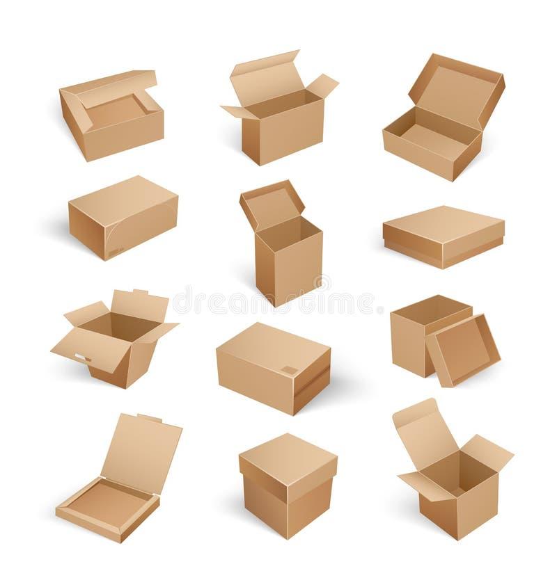Pakunków pudełka Otwierali Odgórnego Odosobnionego ikona wektor ilustracja wektor