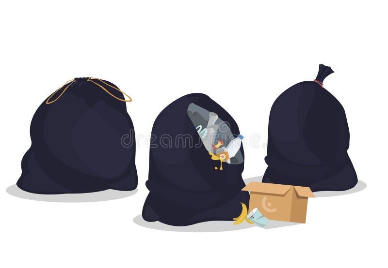 Pakunki z śmieci Otwarci i zamknięci czarni plastikowi worki z marnotrawią Paczki pełno banialuki Specjalni rozporządzalni zbiorn ilustracji