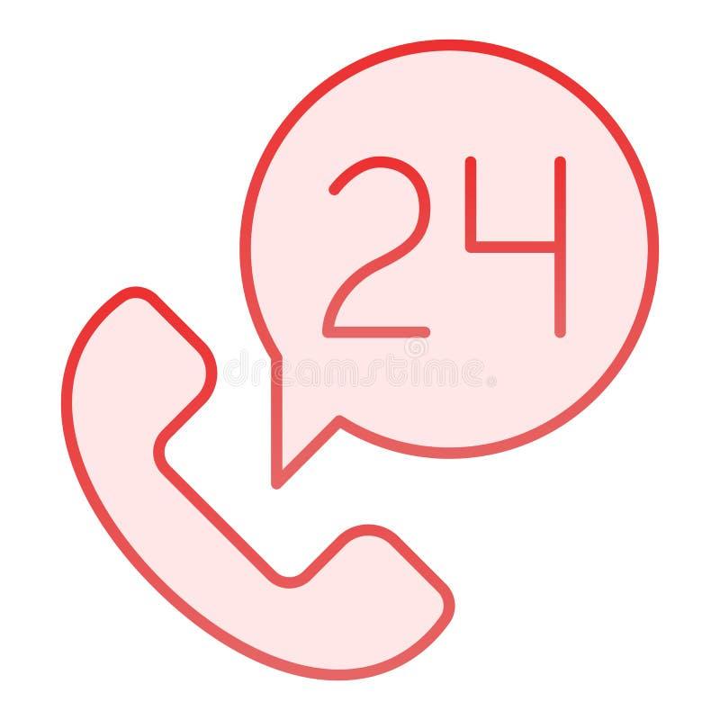 Pakunku usługowego mieszkania ikona 24 godziny na dobę Przez całą dobę różowe ikony w modnym mieszkanie stylu Telefoniczne ilustracja wektor