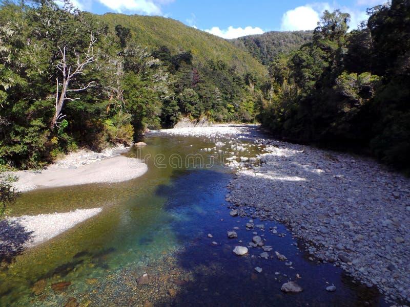 Pakuratahirivier, Lord van de Ringendoorwaadbare plaatsen van Isen, Nieuw Zeeland stock afbeeldingen