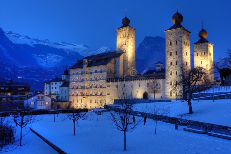 Palácio 01 de Stockalper, prisão militar, Switzerland fotos de stock