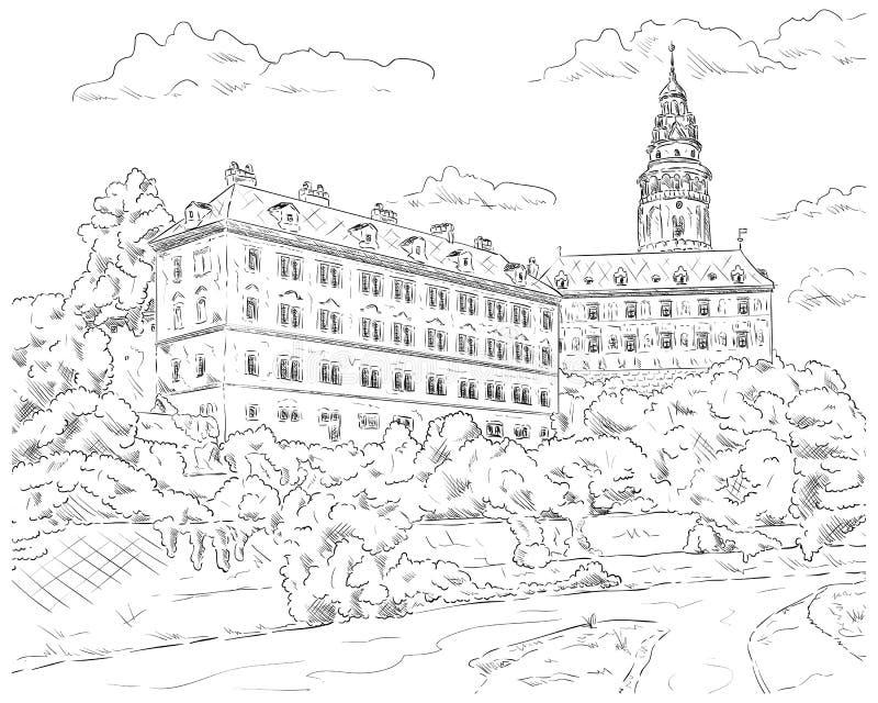 Palácio Cesky Krumlov ilustração royalty free