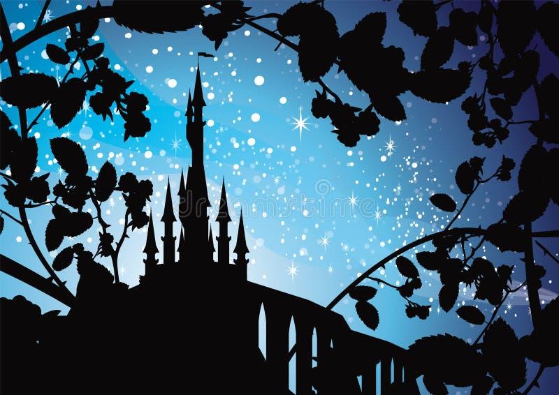 Palácio com a noite dos espinhos ilustração stock
