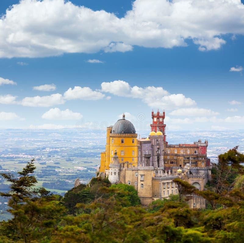Palácio da贝纳/辛特拉,里斯本/葡萄牙鸟瞰图  库存图片